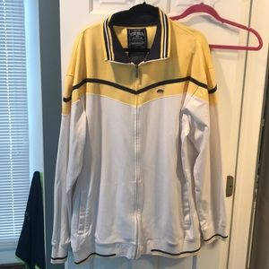 White with yellow and navy trim echo sweat jacket